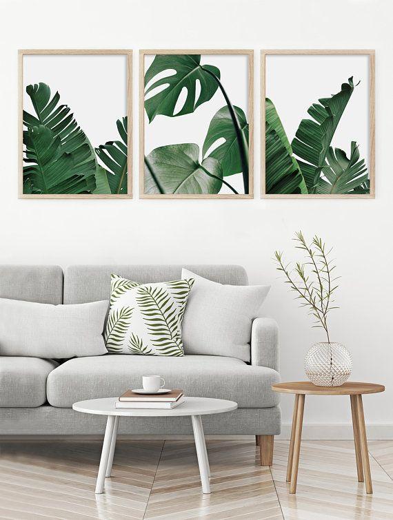 Tropical Leaf Print Set Of 3 Prints Palm Monstera Botanical