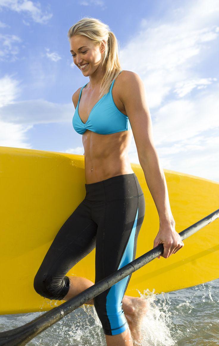 Front Knot Bikini + Colorblock Swim Capri   Athleta Spring