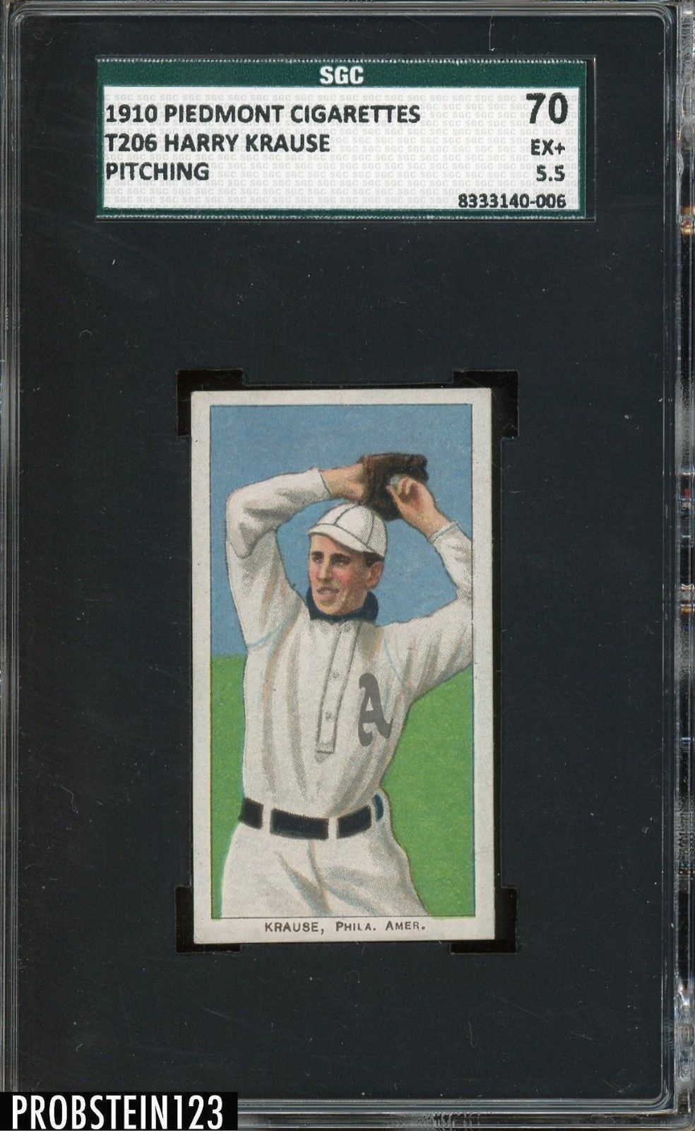 T206 Harry Krause Pitching Piedmont 350 Subjects SGC 70