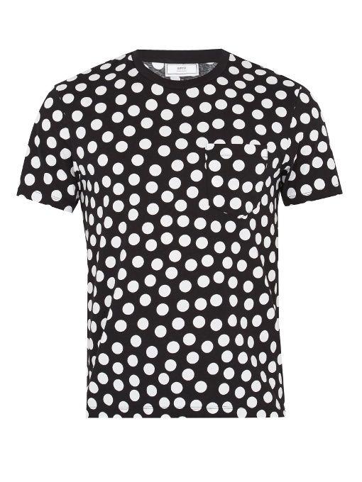 Polka Dot Print Crew Neck Cotton T Shirt In Black White Mens