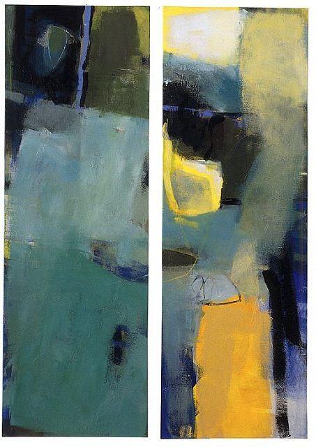 "Ingeborg van Loock,  ""Grüne Olive"" 2002 Acryl auf Leinwand 150x50cm  ""Lichtspiel im Olivenbaum"", 2002 Acryl auf Leinwand 150x50cm"