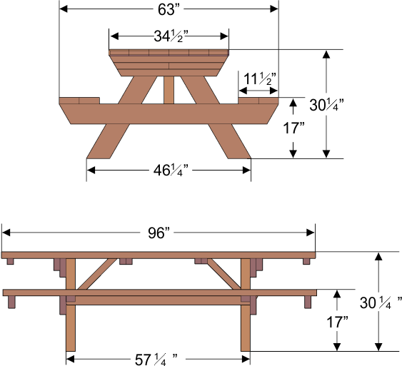 Dimensions Of A Picnic Table Tabletop Widths Are Slightly Narrower Than Listed Sizes Because Picnic Table Table Table Top