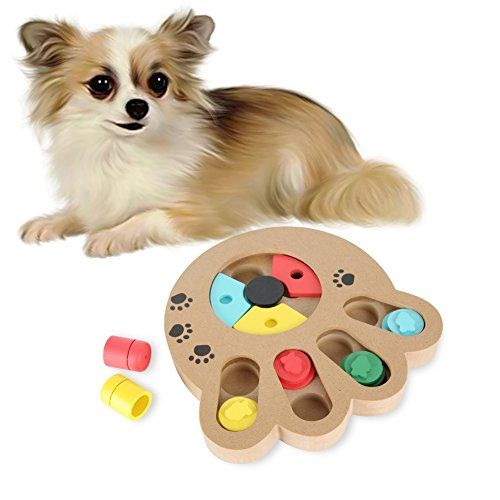 Adarl Eco Friendly Wooden Hide And Seek Food Puzzle Plate Pet Dog