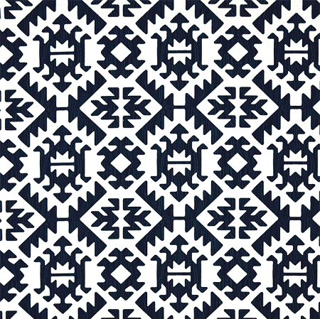 Blue Tribal Fabric, Navy and White Fabric, Tribal Fabric, Pawnee ...