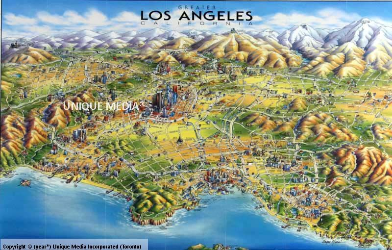 illustrated map of los angeles Google Search Promotion Design