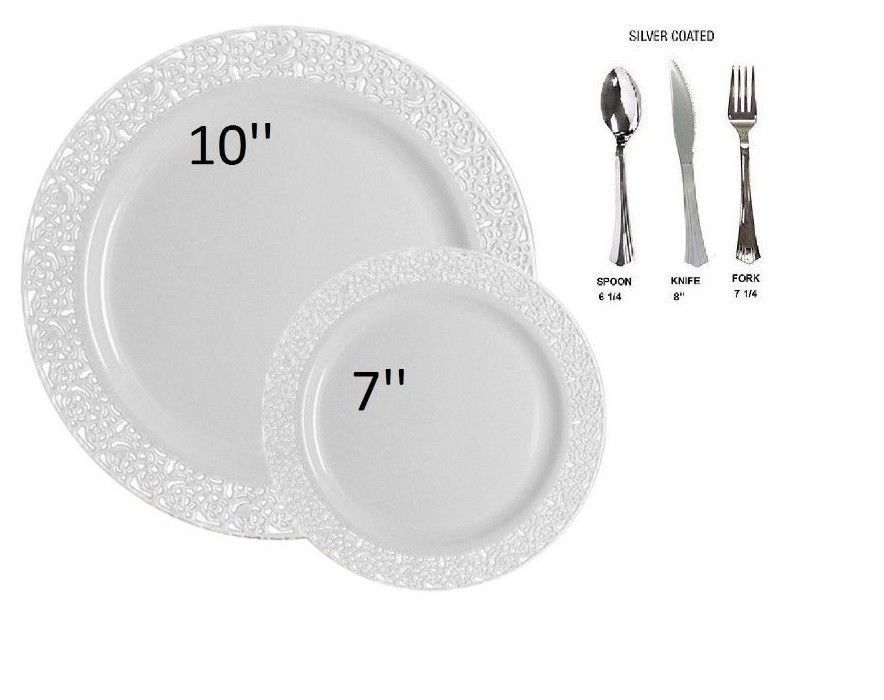 Bulk wedding party dinner disposable plastic plates silverware white lace | Home u0026 Garden Greeting Cards u0026 Party Supply Party Supplies | eBay!  sc 1 st  Pinterest & Bulk wedding party dinner disposable plastic plates silverware white ...