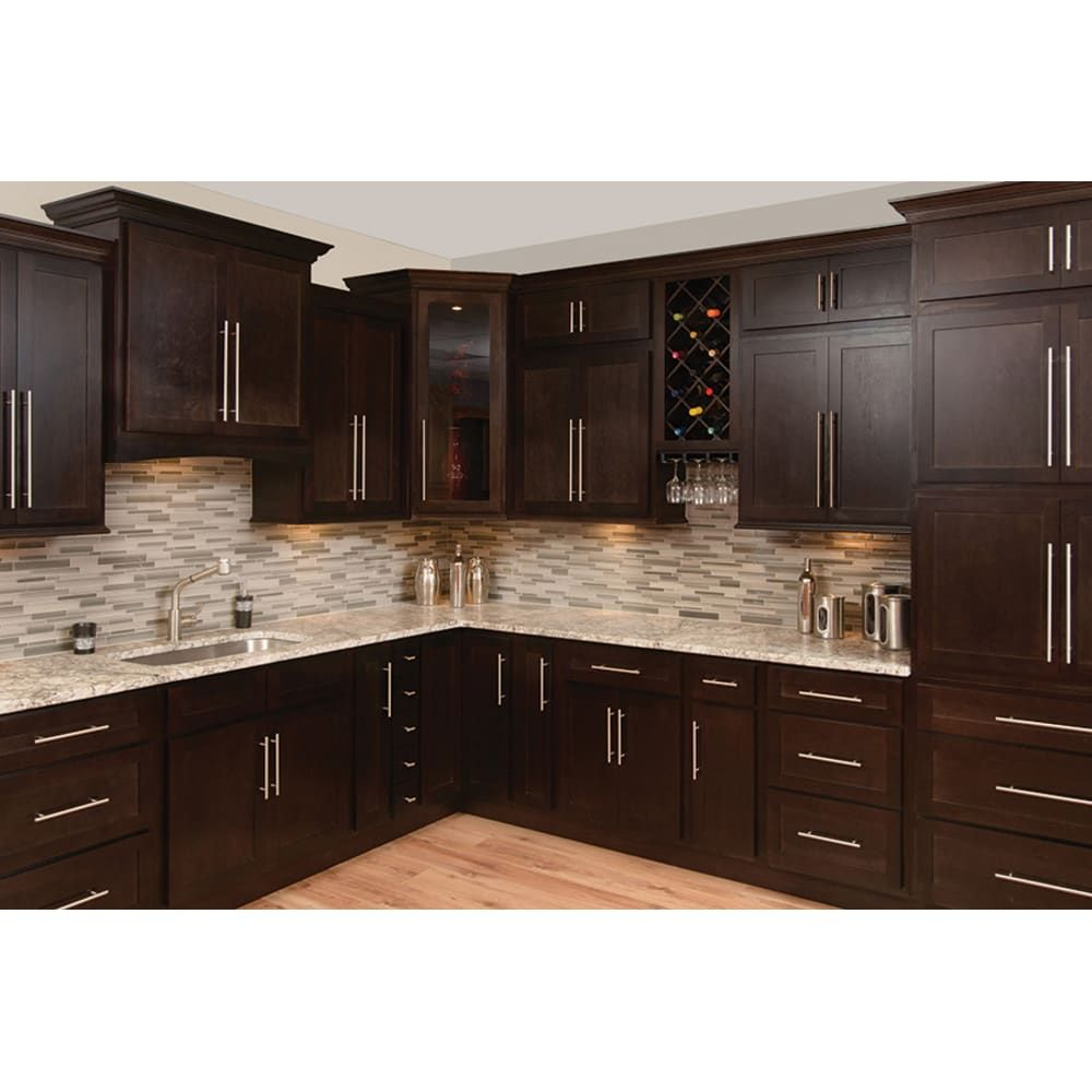 Rich Espresso Finish Standard Overlay Shaker Style Doors And Drawers Plywood Shelves And D In 2020 Espresso Kitchen Cabinets Kitchen Design Shaker Kitchen Cabinets