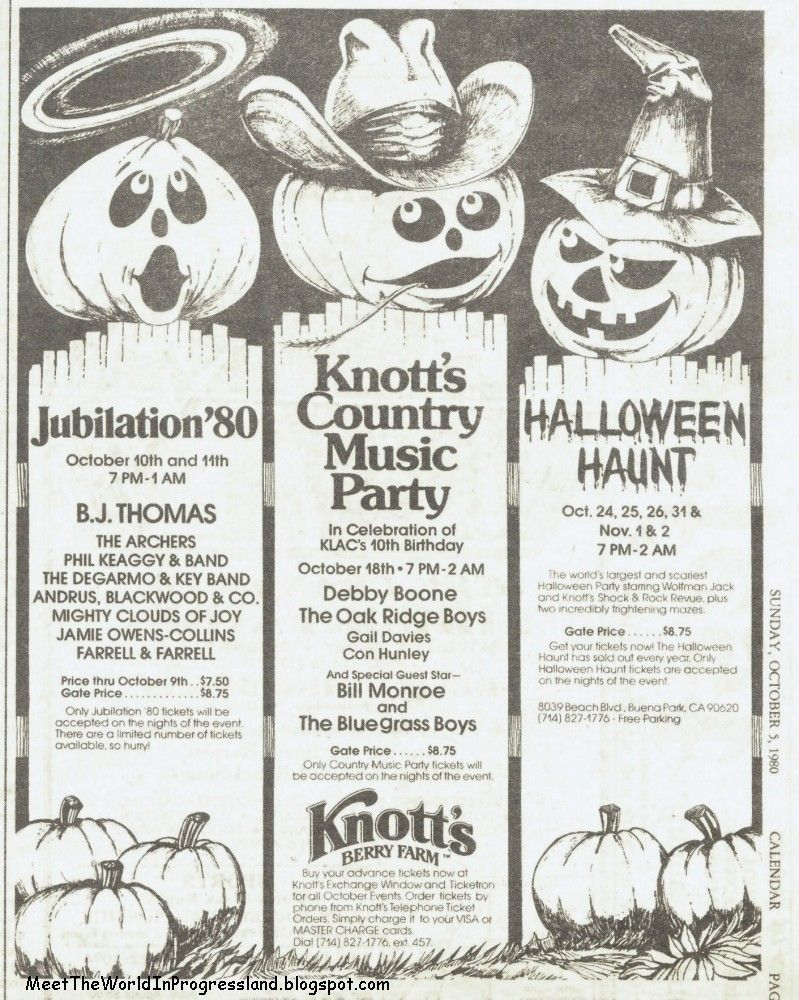 knotts berry farm halloween 1980 ad - Knotts Berry Farm Halloween Tickets