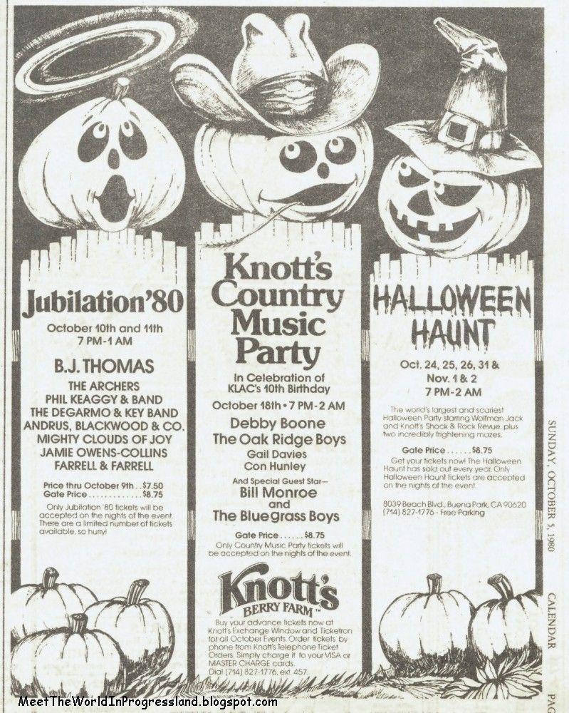 knotts berry farm halloween 1980 ad - Knotts Berry Farm Halloween Tickets