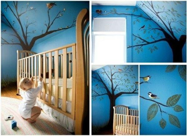 deko-ideen-Schlafzimmer-mit-Dachschräge-babybett Baby - wandgestaltung dachschrge
