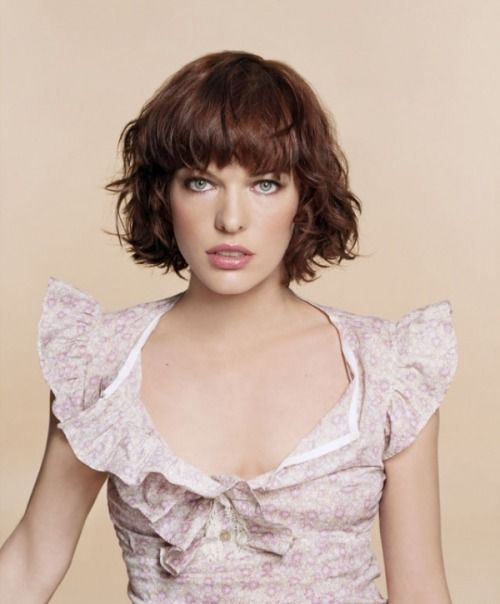 #milla jovovich #short hair #bob #bangs #brunette #hair #haircut #short brown hair
