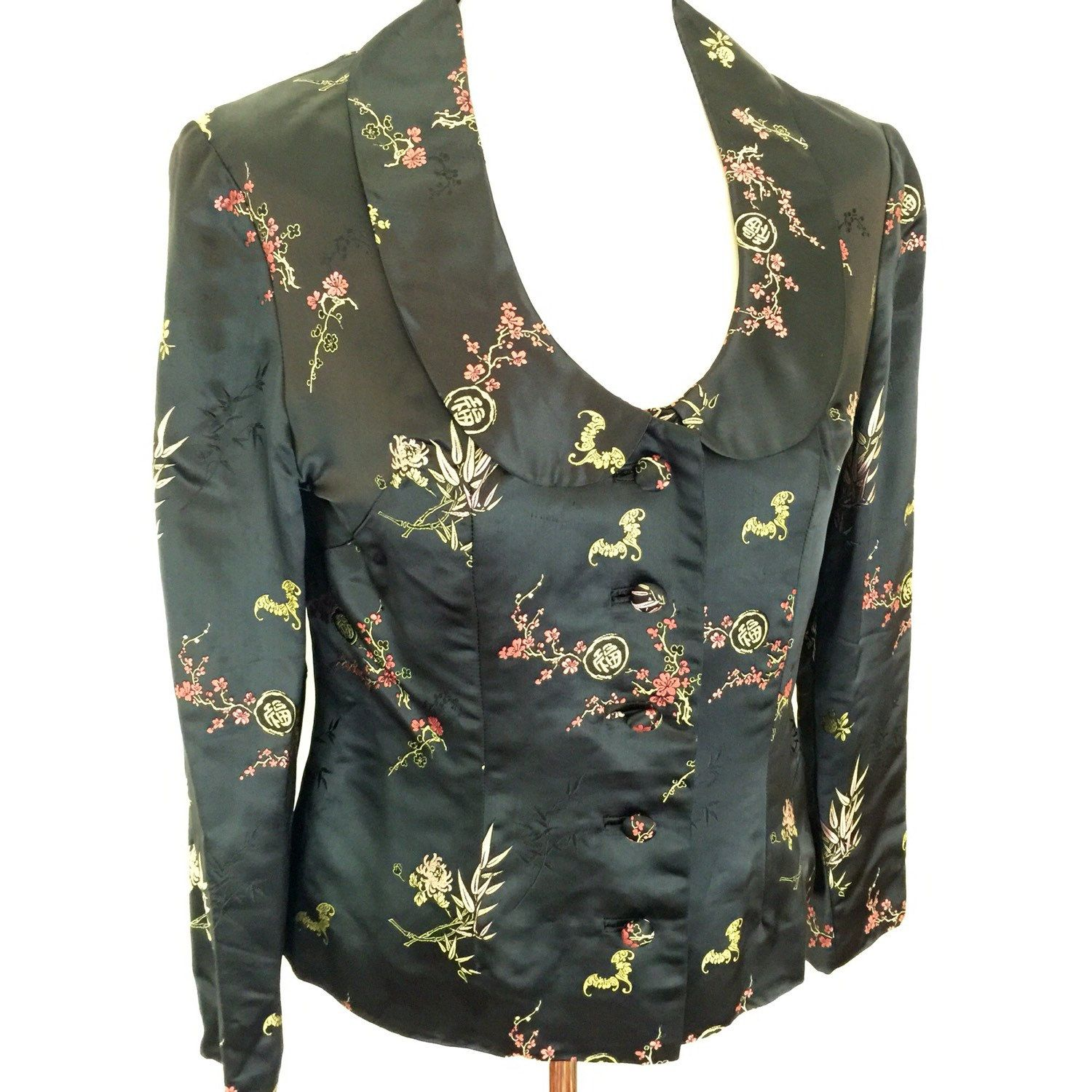 Vintage chinese silk jacket 1960s tailormade black traditional ...