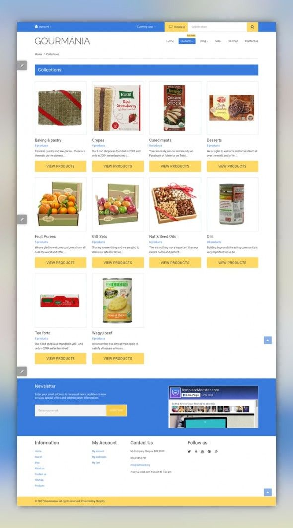Gourmania Shopify Theme E-commerce Templates, Shopify Themes, Food