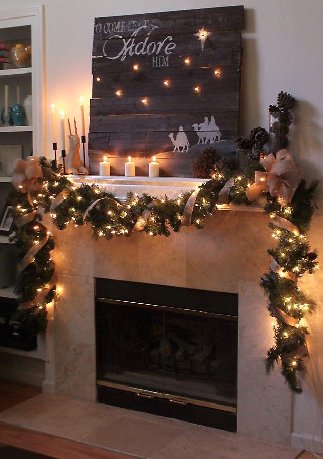 rustic christmas mantle 33 Christmas Mantel Decorations