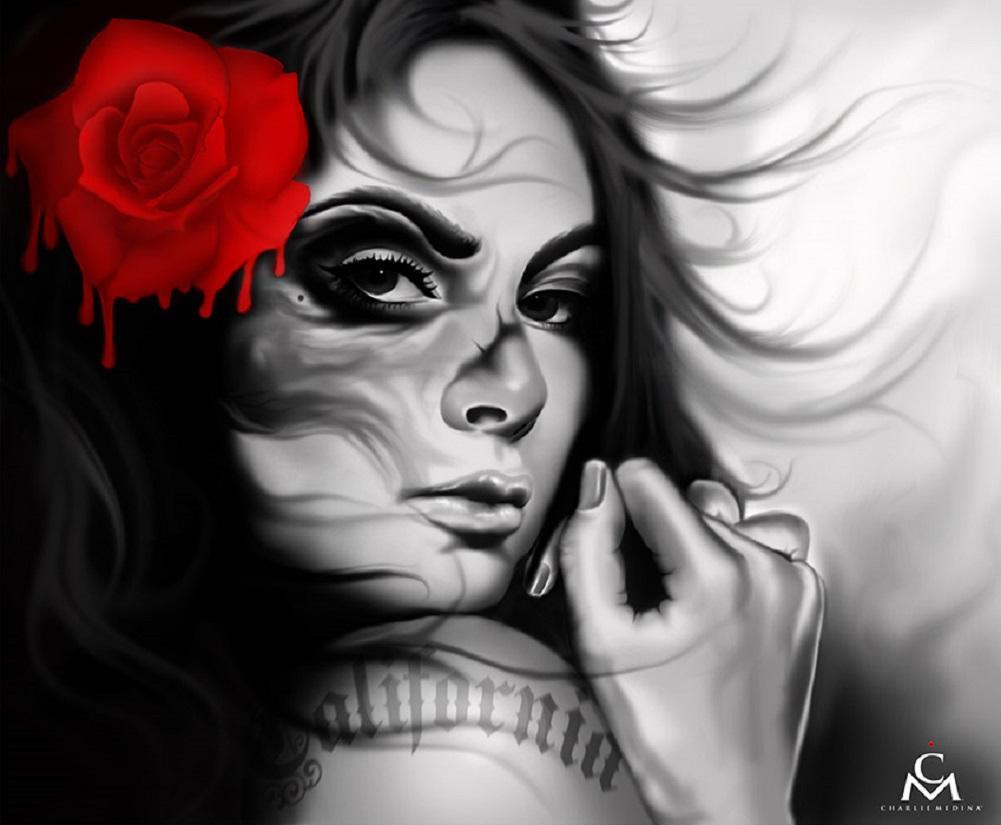 California girl by charlie medina latina woman tattoo