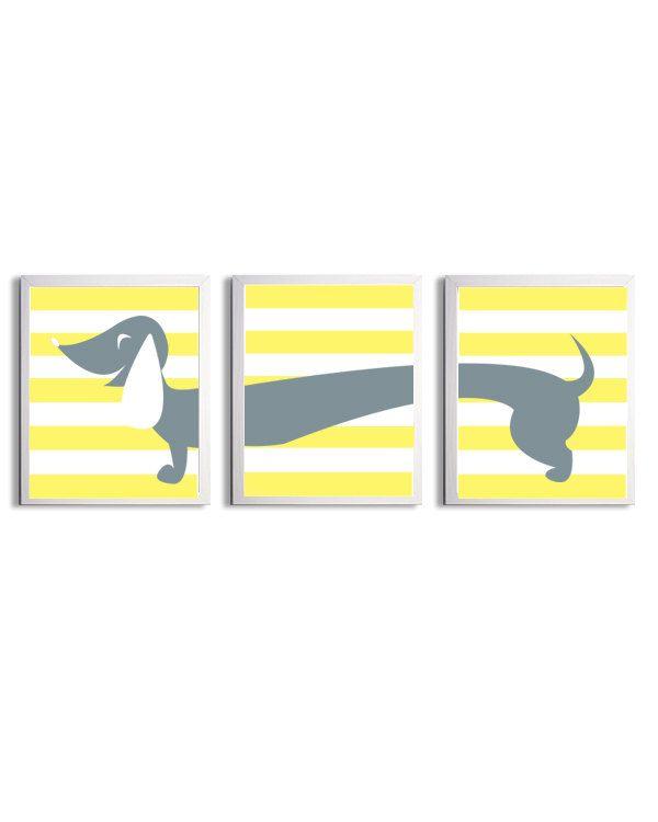 Nursery Girl Boy Art Dachshund Dog Kids Yellow Grey Stripe Wall ...
