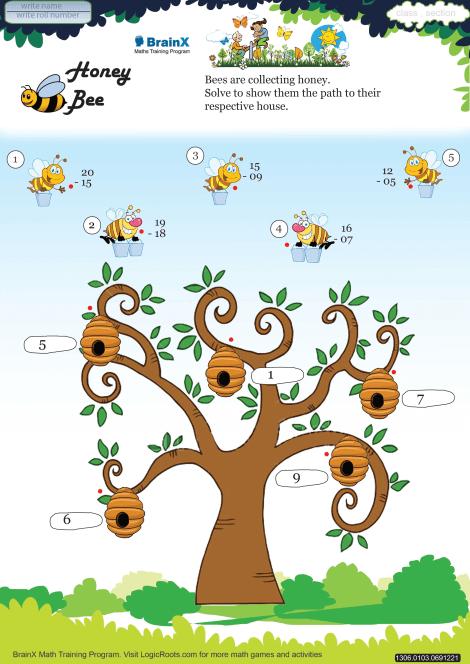 Honey Bee Math Worksheet for Grade 1