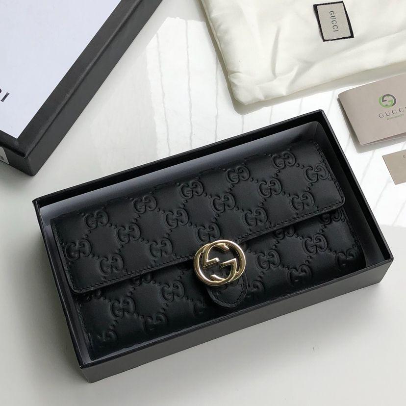 newest 9d2be c1828 財布 レディース 人気 ブランド 20代 二つ折り-ブラック グッチ ...