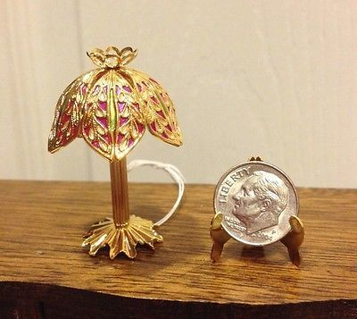 Doll House Dollhouse Miniature Fancy Electric Table Lamp Gold Plated Solid  Brass