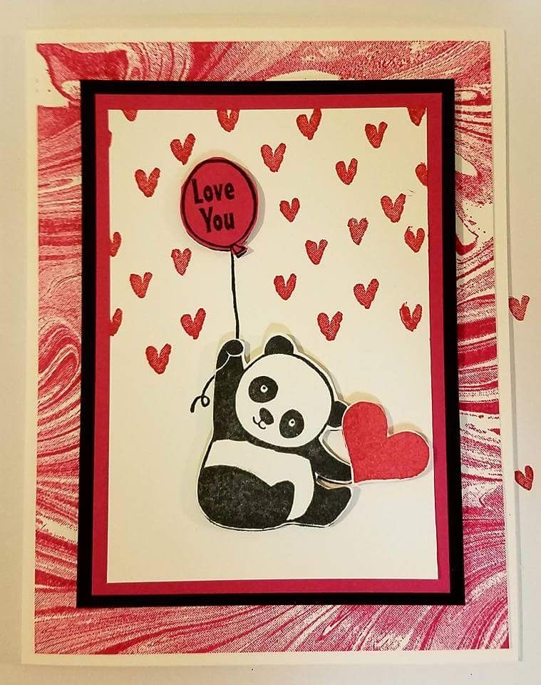 Pin By Susan Little On Cards Su Party Pandas Panda Card Valentines Cards Valentine Cards Handmade
