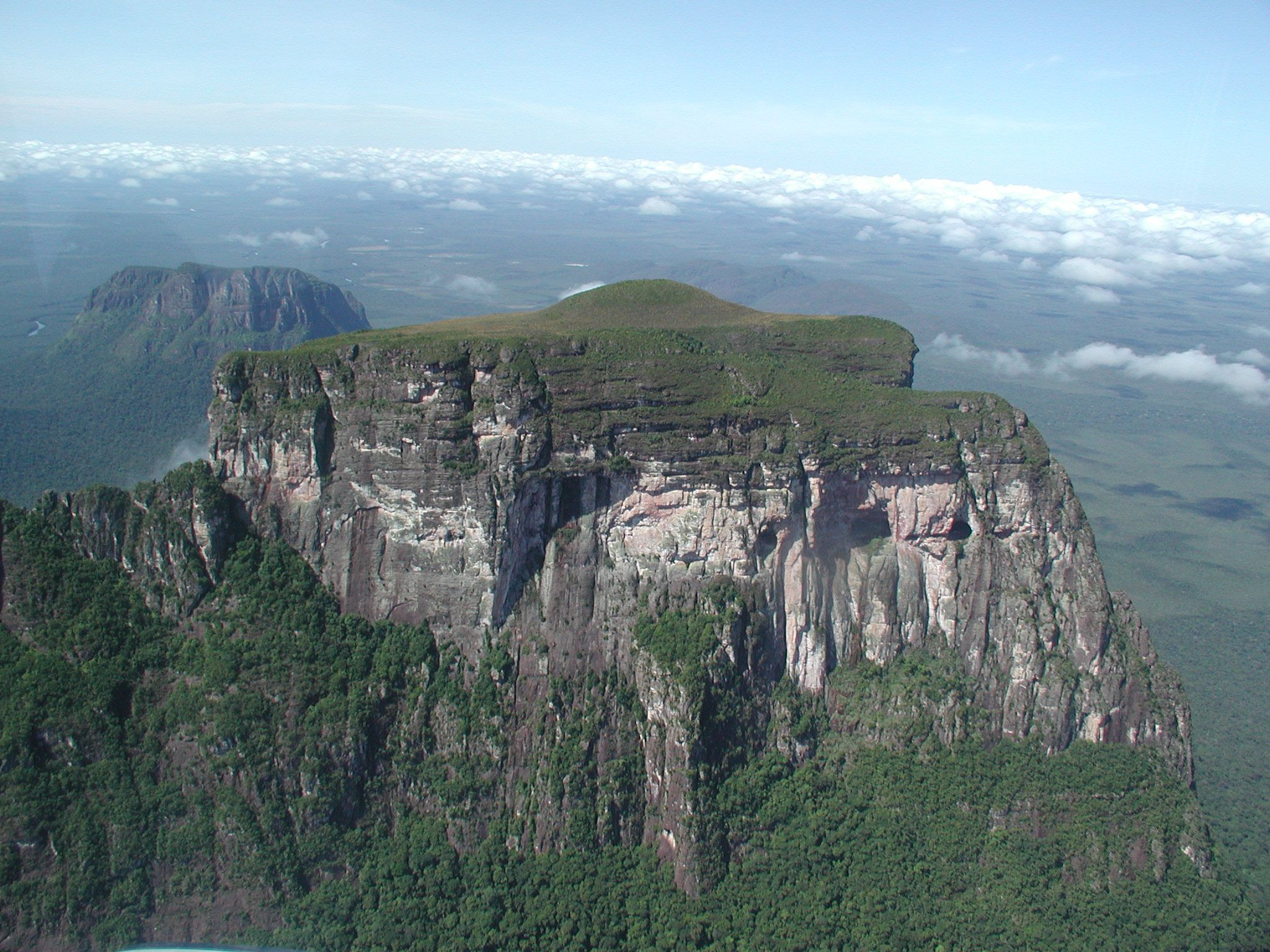 Northern exposure of Cerro Autana showing the entrance to the caves, in the mid section of the mountain, in the right side below the line of vegetation.