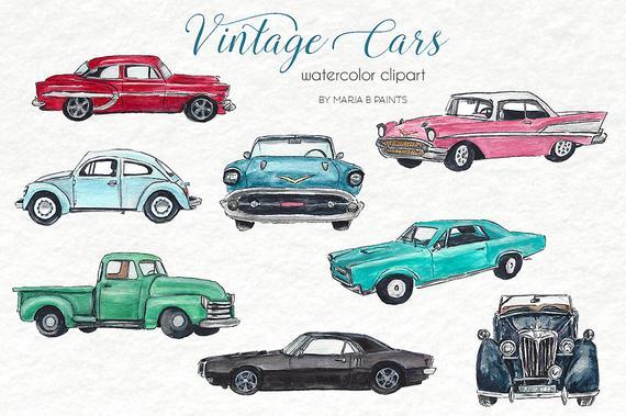 Car Vintage Clip Art Digital Download Image Hand Painted Classic Old Travel Printables