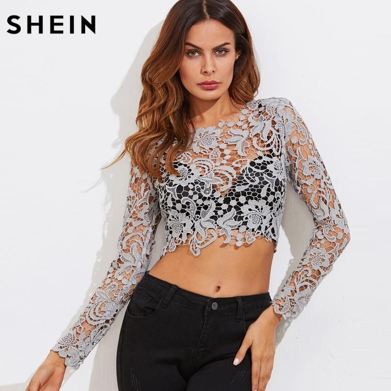 28e4282afb2 SHEIN Sexy Long Sleeve Tops for Women Shirts Women 2018 Fashion Grey  Guipure Floral Lace Exposed Zipper Back Crop Top