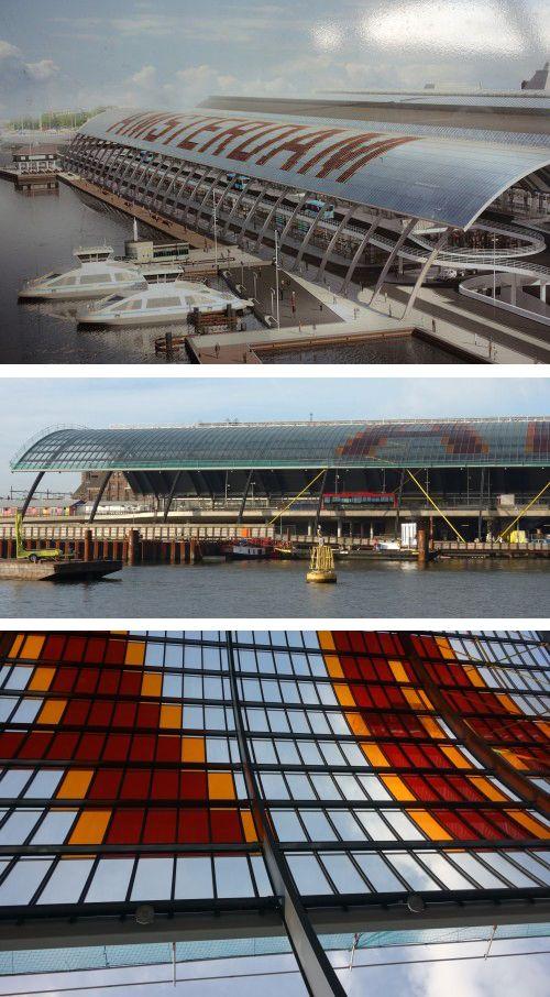 Materia / Soporte. Hintting - Láminas de cristal como pixel. Cubierta de cristal diseñada por Benthem Crouwel Architecs para la nueva Estación Central de Amsterdam. http://typographica.org/on-typography/roof-kerning-in-amsterdam/