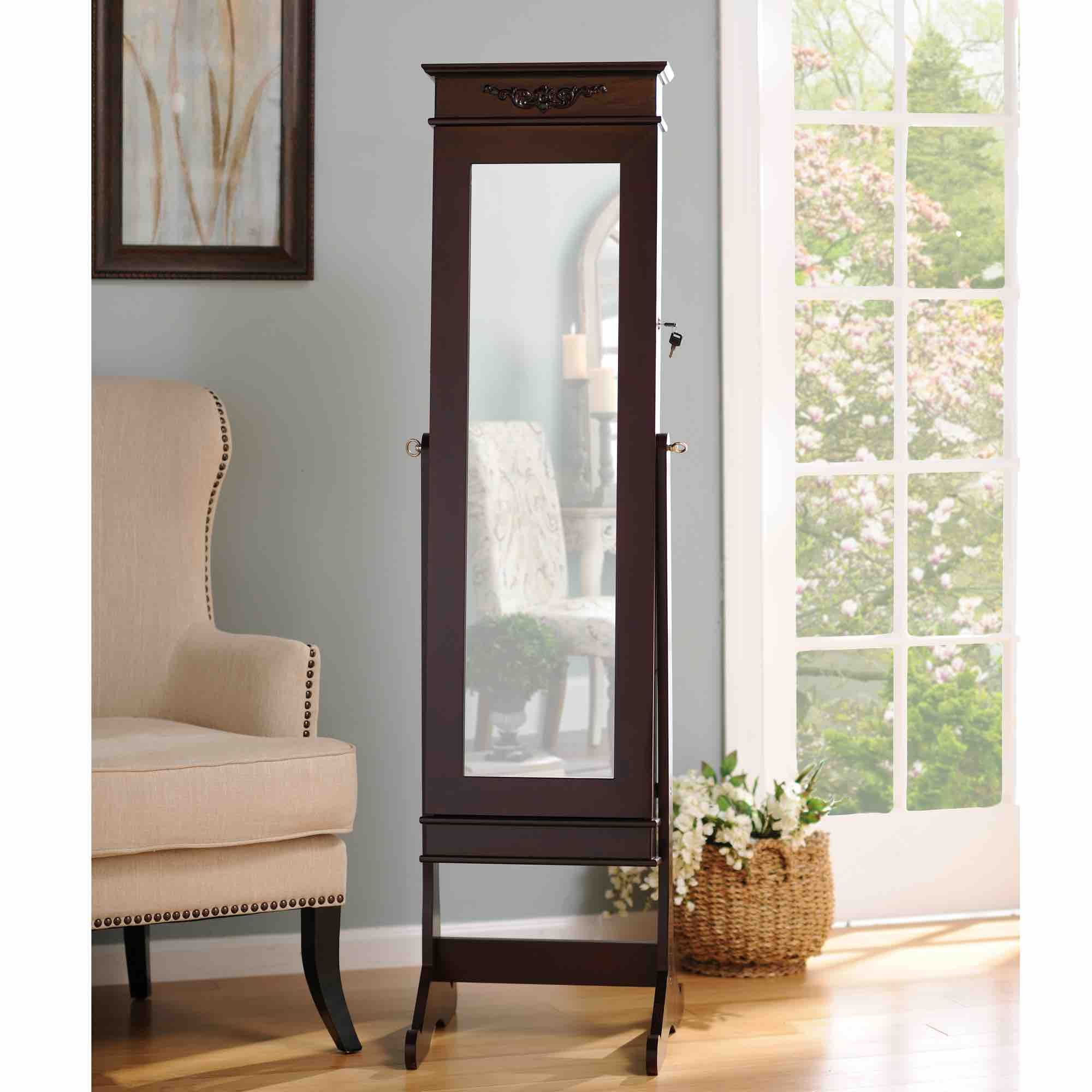 Cherry Cheval LED Jewelry Armoire Mirror | Jewelry armoire ...