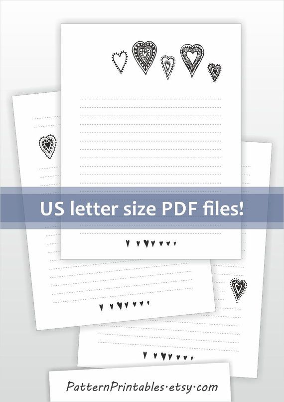 Printable lined letter writing paper Cute hearts doodle design by - printable letter paper with lines