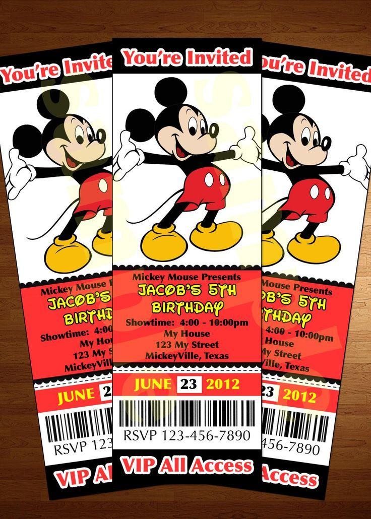 Mickey Mouse ticket invitation printable diy invite RED: | Nas ...