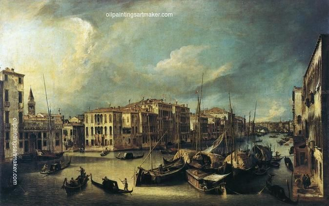 Canaletto Grand Canal Looking Northeast from near the Palazzo Corner Spinelli to the Rialto Bridge, painting Authorized official website