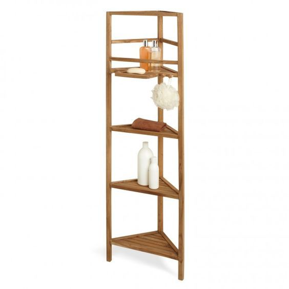 59″ Teak Corner Bathroom Shelf – Shower Caddies – Bathroom ...