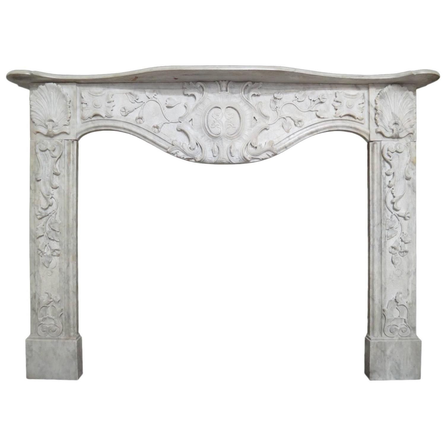 Late 18th Century Italian Fireplace Mantel In Carrara Marble Italian Fireplace Marble Fireplaces Italian Marble