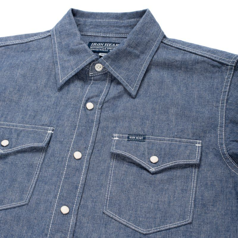 IHSH-13-ind - Indigo 10oz Selvedge Chambray Single Yoke Western