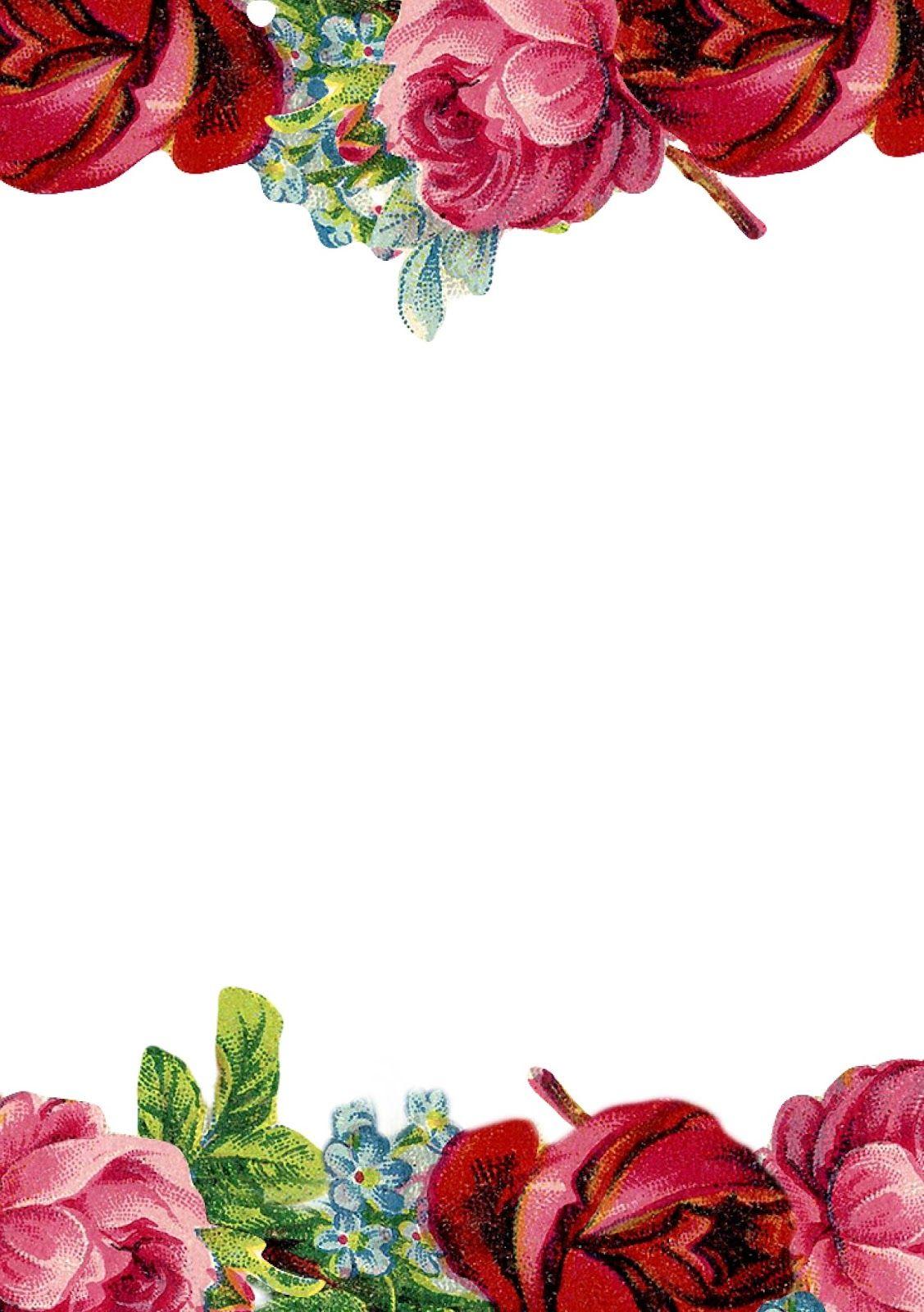 Free printable vintage rose stationery - ausdruckbares Briefpapier ...