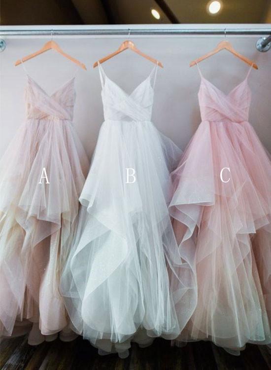 Custom made A line tulle ruffled long prom dresses, evening dresses ...