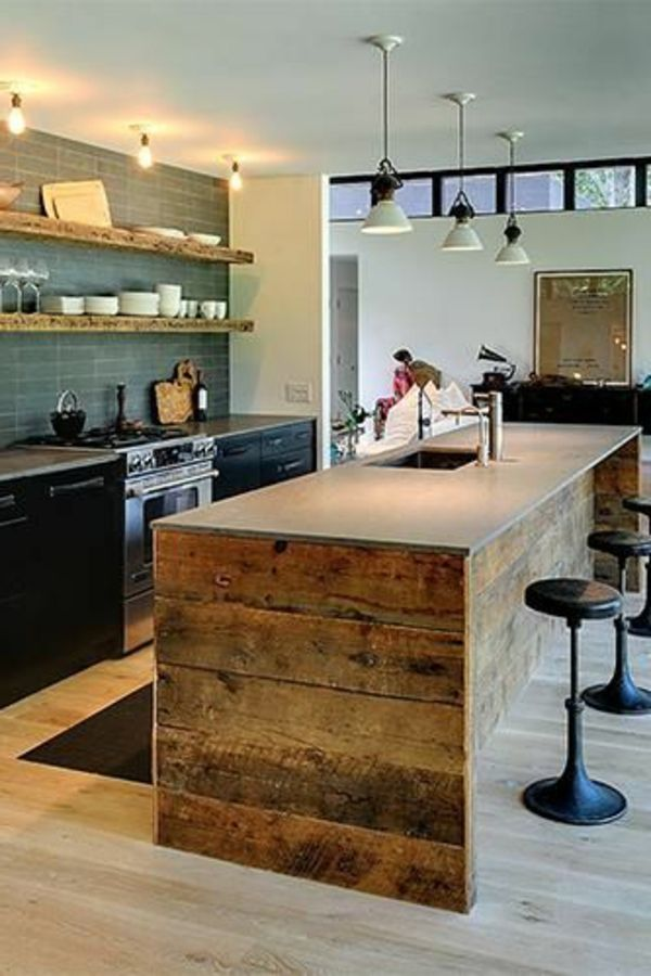 La cuisine avec lot central id es de d coration et for Deco de cuisine en longueur