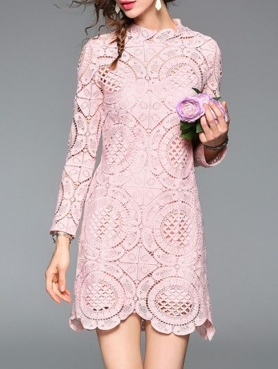 d4016f49db Pink Crochet Hollow Out Dress