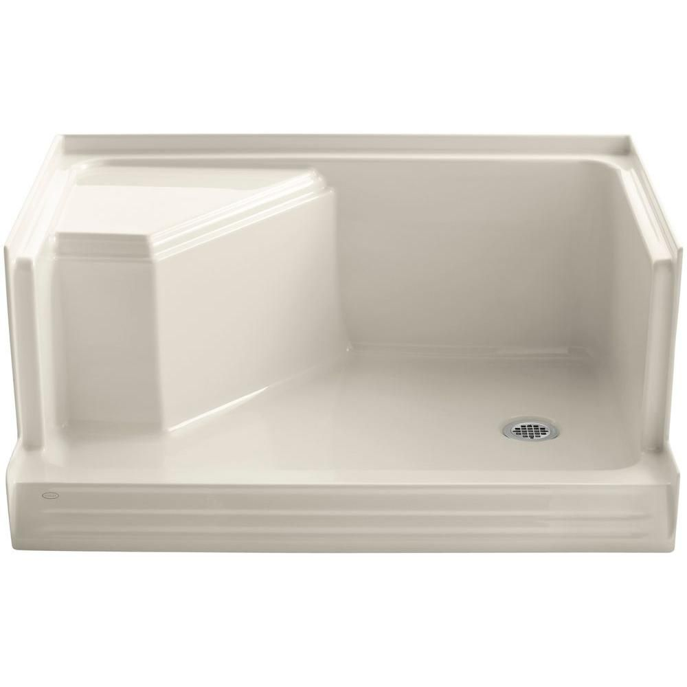 KOHLER Memoirs 48 in. x 36 in. Single Threshold Shower Base with Integral Seat on Left in Almond (Brown)