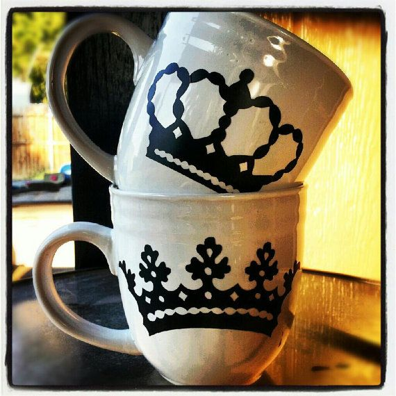 King and Queen ~ His and Hers CoFfEe MuGs by JustNat on Etsy, $12.00 for the set