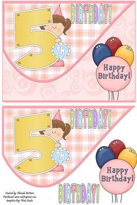 5th Birthday Girl Tear Drop Card Front on Craftsuprint - Add To Basket!