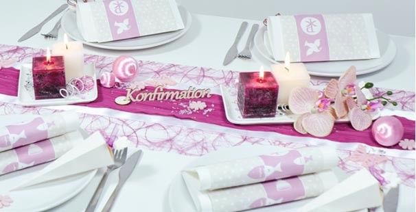 Bildergebnis F R Tischdekoration Kommunion Weiss Gr N Rosa