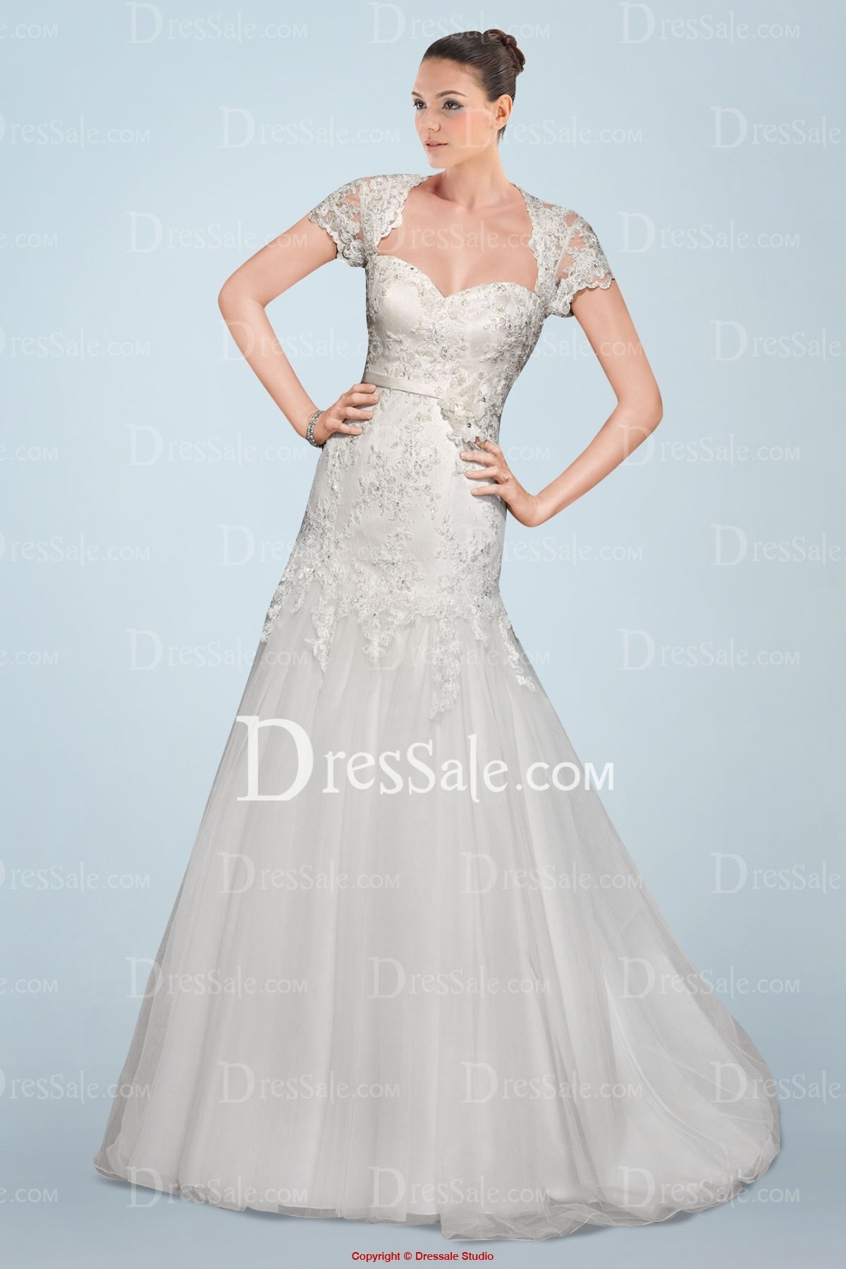 Ravishing short sleeve aline wedding gown featuring beaded lace