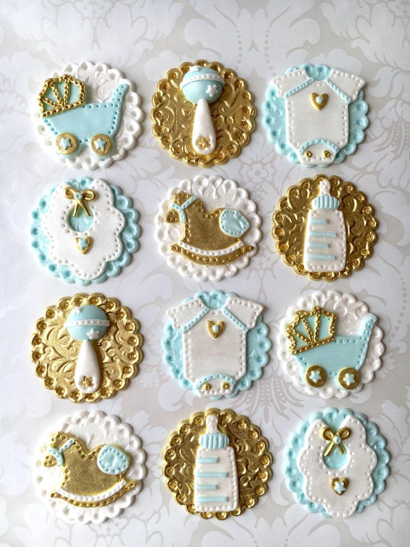 Royal Theme Baby Shower Fondant Cupcake Topper. Boy Baby Shower Edible  Cupcake Topper. Vintage Baby Shower Topper. Custom Baby Shower Topper