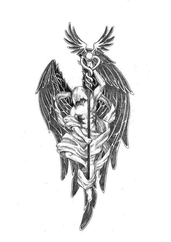 St Raphael Tattoo : raphael, tattoo, Tattoo, Pinterest, Archangel, Raphael, ไอเดียรอยสัก,, รอยสัก,, ลายสัก