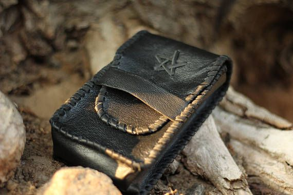 Black Tarot bag, leather tarot pouch, cards box, taro deck