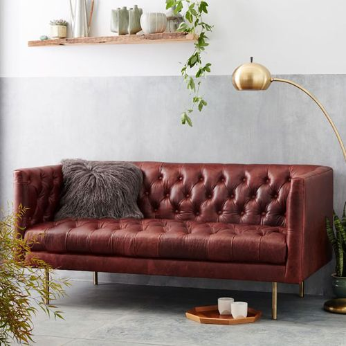 West Elm Modern Chesterfield Leather Loveseat
