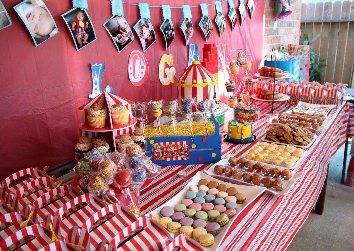 Logan\'s 1st circus theme birthday dessert table. Circus theme. First ...