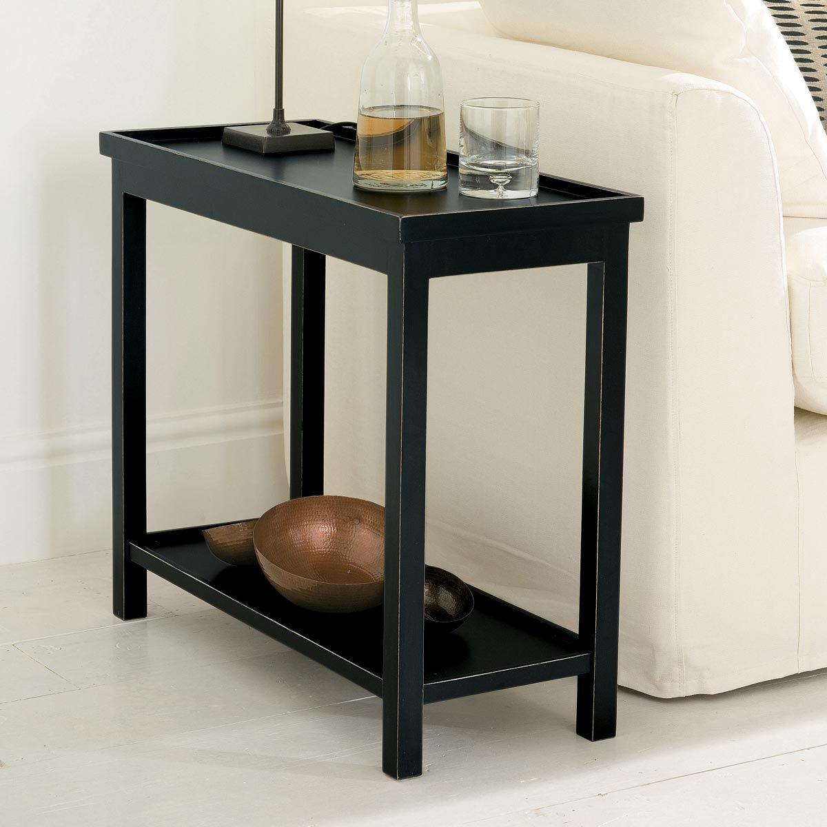 Narrow Jet Side Table Rubbed Black Sofa Side Table Narrow Side Table Wooden Side Table
